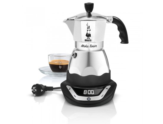 Гейзерная кофеварка электрическая Bialetti Moka Timer на 6 порций 6093