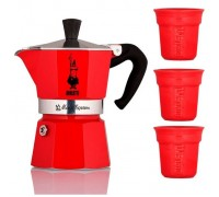 Гейзерная кофеварка Bialetti Moka Express Red на 3 порции + 3 чашки 3570