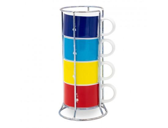 Набор из 4 чашек для капучино Bialetti Multicolor со стойкой