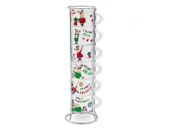 Набор из 6 чашек для эспрессо Bialetti L'Omino Italiano со стойкой