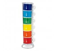 Набор из 6 чашек для эспрессо Bialetti Multicolor со стойкой