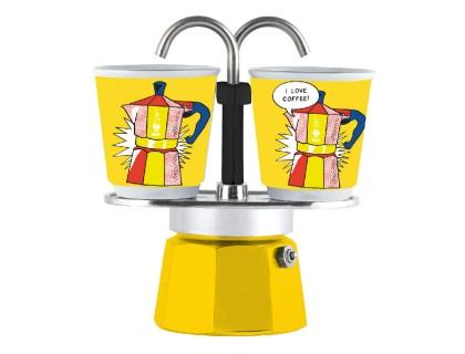 Гейзерная кофеварка Bialetti Mini Express Arte Lichtenstein на 2 чашки 1405