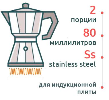 Гейзерная кофеварка Bialetti Kitty Nera Elegance 1712