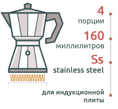 Гейзерная кофеварка Bialetti Venus Elegance 7254