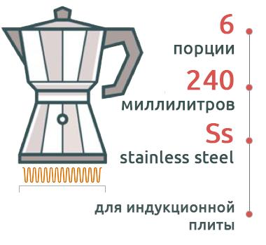 Гейзерная кофеварка Bialetti Moka Induction antracite 4823